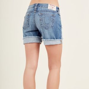 True Religion denim mid cutoff shorts 26